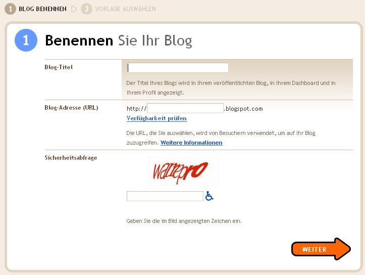 Blogerstellung auf Blogger